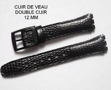 BRACELET MONTRE CUIR DE VEAU DOUBLE CUIR NOIR 12 mm  REF 145214