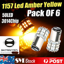 6pcs Amber Brake 1157 Led Bulb 3014SMD 50Led Car Turn Signals Parking Lights AU