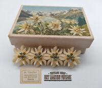 VINTAGE ART DECO CARVED BONE EDELWEISS SWEETHEART BROOCH PIN WW2 IN ORIGINAL BOX