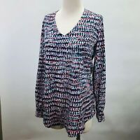 NYDJ Not Your Daughters Jeans Long Sleeve Top V-Neck Multi-Color Print Tunic XS