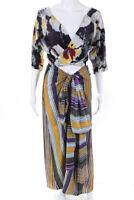 Etro Womens Silk Stripe Print Tie Maxi Dress Purple Gold Multicolor Size 38 IT