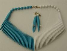 Fun Vintage Turquoise & White Plastic Fringe Collar Bib Necklace & Earrings Set