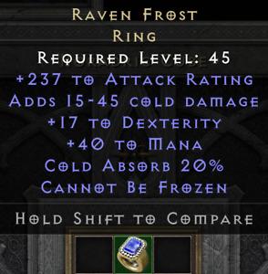 Ravenfrost 237 17 Rabenfrost Ring LvL45 Diablo 2 Resurrected PC SC