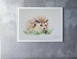 New Elle Smith large original signed watercolour art painting a little Hedgehog