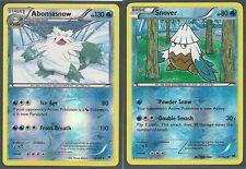 2 Xy Breakthrough Evo Pokemon Cards-Rare Abomasnow & Snover -Rev Holo-Mint