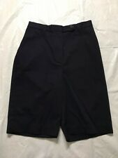 Lands End High Rise Bermuda Shorts Size 4 Relaxed Fit Navy Blue Elastic Back NWT