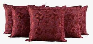 "Set-5 Indian 100% Cotton 16X16"" Hippie Decorative Sofa Cushion Cover Mirror Work"
