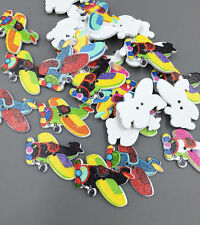 DIY 20X Cartoon airplane shap wooden buttons Fit sewing or scrapbooking 30mm