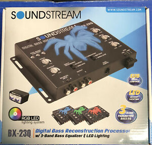 Soundstream BX-23Q 3 Band EQ Bass Booster Full Audio Control RGB LED LIGHT Top