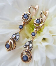 Art Nouveau Style 9ct Rose Gold Sapphire & Diamond Garland Drop Earrings