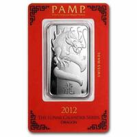 New 2012 Silver Pamp Suisse Lunar Dragon 1oz Ingot Bar with Assay Certificate