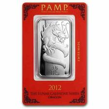 New 1oz Silver Pamp Suisse Lunar Dragon 2012 Ingot Bar with Assay Certificate
