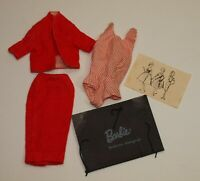 Vintage Barbie # 981 BUSY GAL Red Suit * Halter Blouse * Portfolio & One Drawing