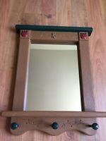 "Home Interiors APPLE Wall Mirror Shelf Coat Rack 21 3/8"" x 16 3/4"" Homco PERFECT"