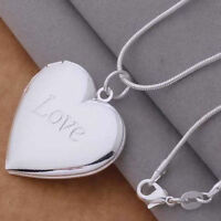925 Sterling Silver Heart Shape Love Locket Necklace (Pendant + Chain)