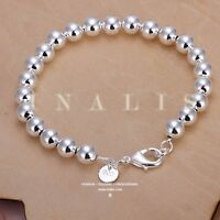 2018 Women Jewelry 925 Sterling Silver Plated Beads String Chain Bracelet Bangle
