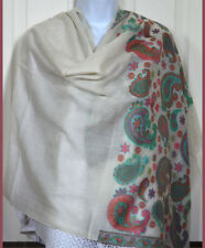 Handwoven Cashmere Pashmina Shawl Ivory White Color Paisley Design from India!