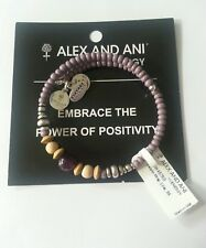 RARE Alex and Ani LILAC Silver Beaded Canyon Wrap Bangle Bracelet NWT