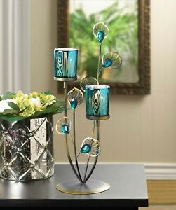 """turquoise teal blue peacock 14"""" tall metal candelabra candle holder centerpiece"""
