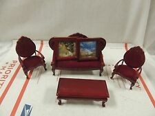 Vintage Miniature Doll House  Red Wooden Furniture Living room