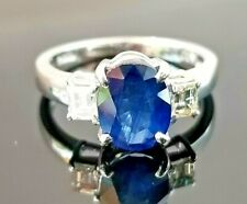 1.84TCW Classic Blue Sapphire Emerald Cut Diamond Platinum ring SZ 4.5