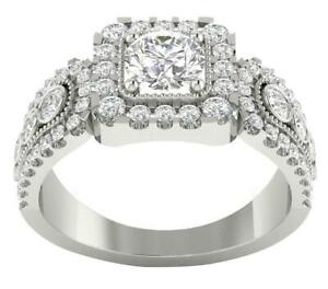 Solitaire Engagement Ring I1 G 1.65 TCW Round Cut Diamond 14K Solid Gold 9.75MM