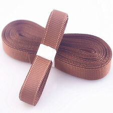 "5yds 3/8"" (10 mm) Brown Solid Christmas Grosgrain Ribbon Hair Bows Ribbion#"