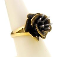Ring 14k yellow gold mounting for 1 carat solitaire oxidized flower rose size 6