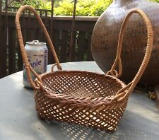 Vintage Chinese bamboo basket with folding handles