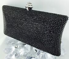 Luxury Pillow Evening Bag With Black Swarovski Crystal Party Purse/Clutch