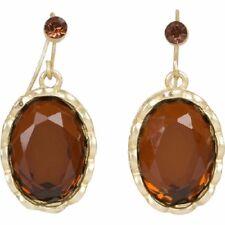 NEW Glam Brown Resin Rhinestone Oval Shaped Drop Dangle Earrings Office Prom