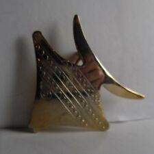 """Brooch 1.5"""" By 1 3/8"""" Emmons Signed Goldtone Metal Fish"""