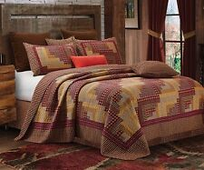 MONTANA RED ** King ** QUILT SET : COUNTRY LOG CABIN PLAID CHECKS LODGE CHECKED