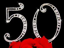 Large Rhinestone Crystal 50th Birthday / Wedding Anniversary Number Cake Topper