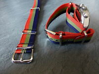 Royal Scots, red, green and blue G1098 watch strap, silver fittings, Army.