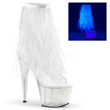 "7"" Pink Feathers Tassels Platform Boots Heels Stripper Dancer Shoes size 8 9 10"