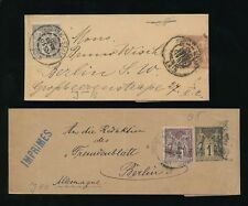 FRANCE 1898 STATIONERY WRAPPERS 2c + 3c + 1c + 4c to BERLIN