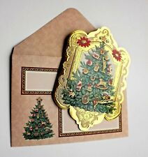 *PUNCH STUDIO Set of 4 Gold Foil Blank Note Cards ~ Christmas Tree Ornaments