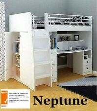 NEPTUNE KING SINGLE CABIN BUNK BED LOFT DESK BOOKCASE CUPBOARD NORMAN WHITE
