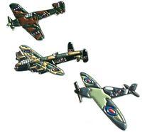 WW2 RAF Spitfire Hurricane & Lancaster Military Aircraft Metal Enamel Badge Set