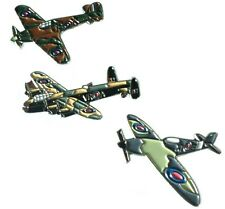WW2 RAF Spitfire Hurricane & Lancaster Military Aircraft Metal Enamel Badge Set