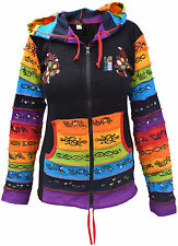 Cotton Black Rainbow Printed Pixie Pointed Long Hood Jacket Ladies Hippie Hoodie