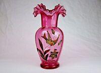 Large Antique Vase 1880s ~ Fenton, Coralene On Transparent Cranberry Glass #JS22