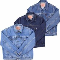 Mens Vintage Ex-Store Denim Jacket Jean Trucker Heavy Duty Mid Dark Light Wash