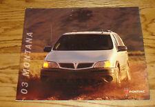 Original 2003 Pontiac Montana Deluxe Sales Brochure 03