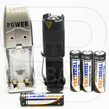 SWAT POLICE 1000M LAMPE TORCHE 3500 LUMENS LED FLASHLIGHT + 4 PILES + CHARGEUR
