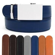 Men's Designer Leather Ratchet Belt with Minimalist Plain Automatic Buckle