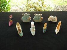 Vintage Miniature Victorian Style 8 Piece Resign Shoes & Purses