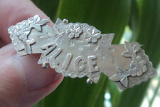 Broche Vintage Estilo Victoriano nombre de plata esterlina 1900 Chester-Alice