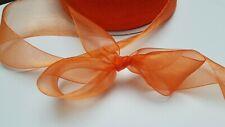 "20 Yds Sheer orange ribbon 1 1/2"" fine soft organza tie bows, sew, craft, decor"